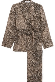 Odette leopard-print washed-silk pajama set
