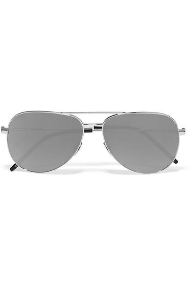83f0ca74d68 Saint Laurent. Aviator-style Silver-tone Mirrored Sunglasses