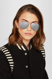 Saint Laurent Aviator-style silver-tone mirrored sunglasses
