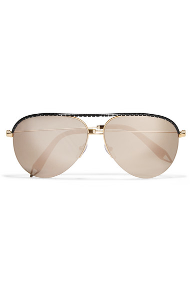 aviator mirror sunglasses mf1j  Victoria Beckham  Aviator-style gold-tone and perforated leather mirrored  sunglasses  NET-A-PORTERCOM