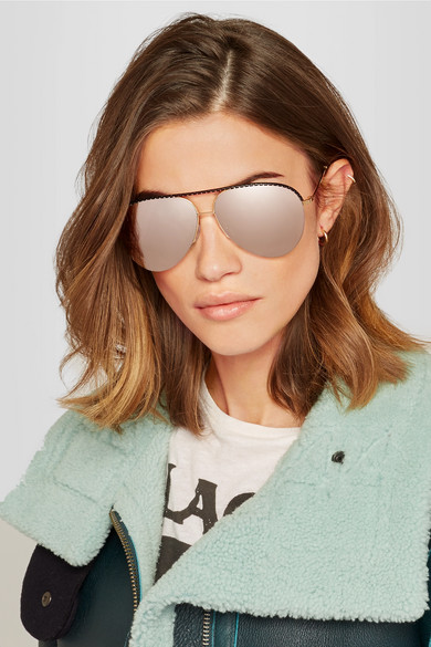 894ebf8b99f33 Victoria Beckham. Aviator-style gold-tone and perforated leather mirrored  sunglasses