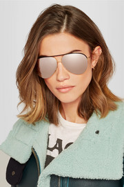 Victoria Beckham Aviator-style gold-tone and perforated leather mirrored sunglasses