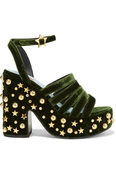 MR by Man Repeller - Lol If You Think I'm Walking Embellished Velvet Platform Sandals - Army green