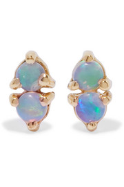 Two Step 14-karat gold opal earrings