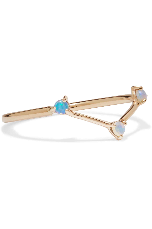 Wwake Three Step 14-karat gold opal ring