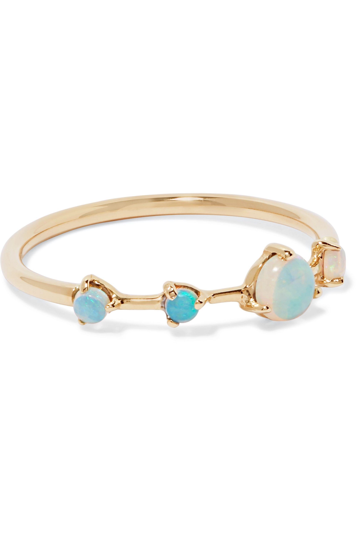 Wwake Four Step 14-karat gold opal ring