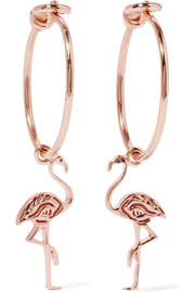 Flamingo 14-karat rose gold earrings