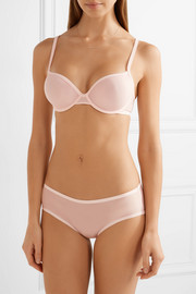 Marquisette stretch tulle-trimmed neoprene underwired bra