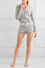 Modern cotton-blend jersey hooded top