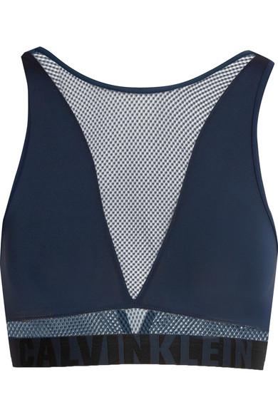 Calvin Klein Underwear - Id Stretch-jersey And Mesh Soft-cup Bra - Midnight blue