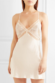 Endless lace and tulle-trimmed silk-satin chemise