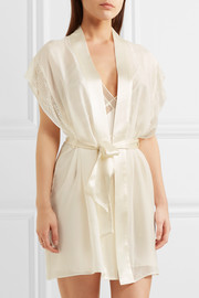 Endless lace-trimmed silk-satin robe
