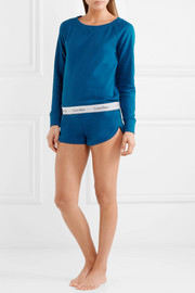 Cotton-blend jersey pajama shorts