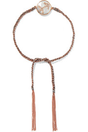 Carolina Bucci Sagittarius Lucky Zodiac 18-karat rose gold, diamond, mother-of-pearl and silk bracelet