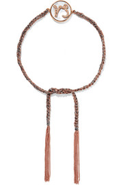 Carolina Bucci Capricorn Lucky Zodiac 18-karat rose gold, diamond, mother-of-pearl and silk bracelet
