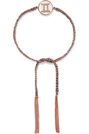 Carolina Bucci Gemini Lucky Zodiac 18-karat rose gold, diamond, mother-of-pearl and silk bracelet