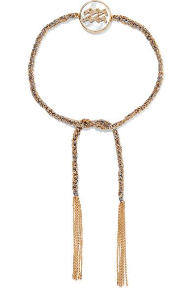 Scorpio Lucky Zodiac 18-karat Gold, Diamond, Mother-of-pearl And Silk Bracelet - one size Carolina Bucci