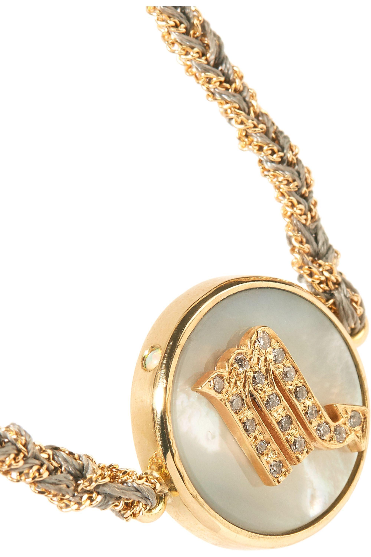 Carolina Bucci Scorpio Lucky Zodiac Armband aus 18 Karat Gold und Seide mit Diamanten und Perlmutt