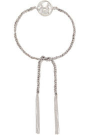 Carolina Bucci Pisces Lucky Zodiac 18-karat white gold, diamond, mother-of-pearl and silk bracelet
