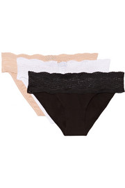 Dolce set of three lace-trimmed cotton briefs