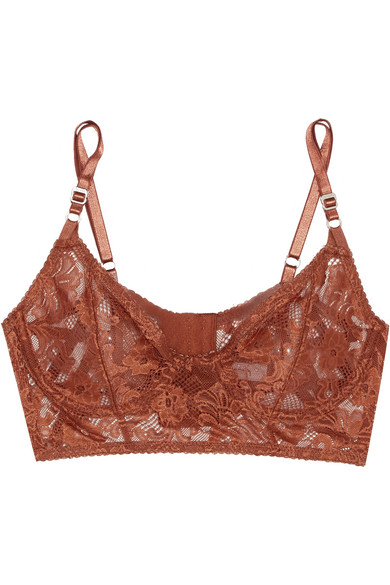 Lonely - Bella Stretch-lace Underwired Bra - Brown