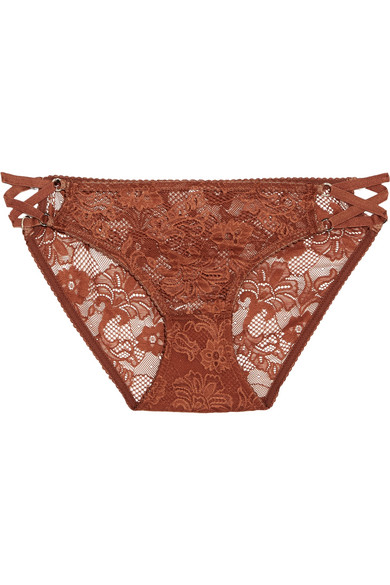 Lonely - Bella Stretch-lace Briefs - Brown