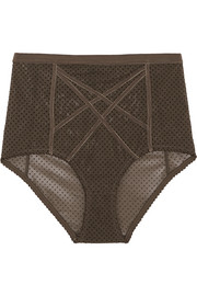 Gigi flocked stretch-tulle high-rise briefs