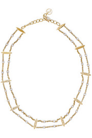 14-karat gold, diamond and pearl choker