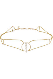 14-karat gold, pearl and diamond choker