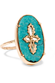 Sunday 9-karat rose gold turquoise ring
