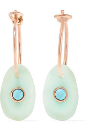 Orso 9-karat rose gold, chrysoprase and turquoise earrings