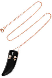 Lara 9-karat rose gold, diamond and resin necklace