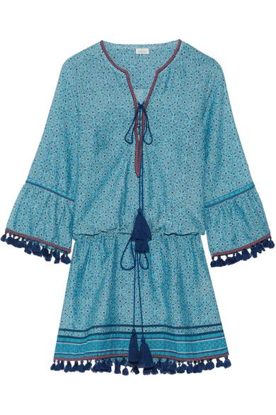 Ria tassel-trimmed cotton and silk-blend mini dress