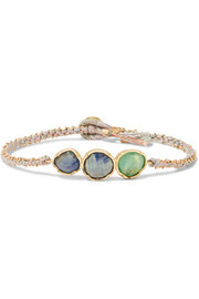 Triple Orbit 18-karat gold, sapphire and emerald bracelet