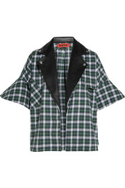 Leather-trimmed plaid brushed-cotton shirt