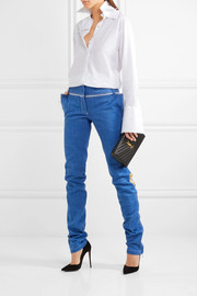 Metallic leather-trimmed low-rise slim-leg jeans