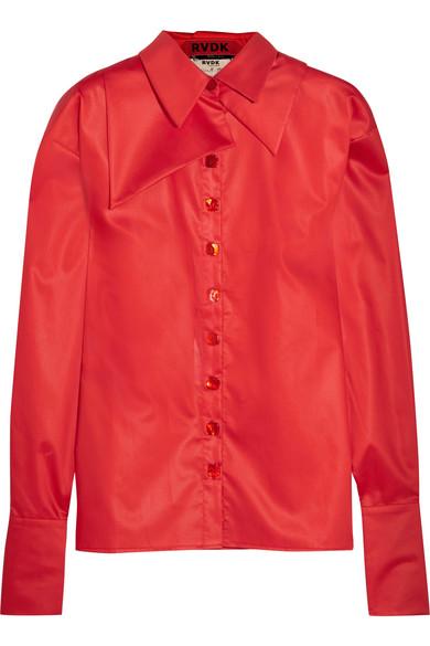 Ronald Van Der Kemp - Oversized Silk-trimmed Cotton-sateen Shirt - Red