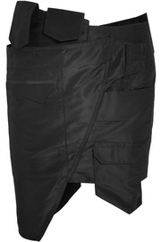 Asymmetric silk-taffeta mini skirt