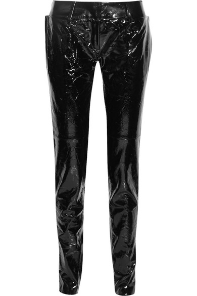 Crinkled patent-leather straight-leg pants