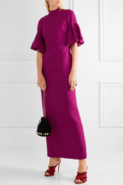 Ruffled wool-crepe gown