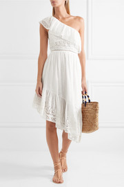 Pamela one-shoulder crochet-paneled Swiss-dot cotton dress
