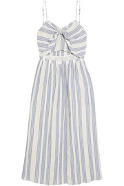 Jenna striped cutout cotton-blend dress