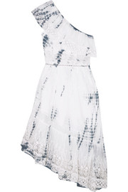 Pamela one-shoulder tie-dyed cotton-gauze dress