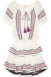 Poppy embroidered cotton-voile mini dress