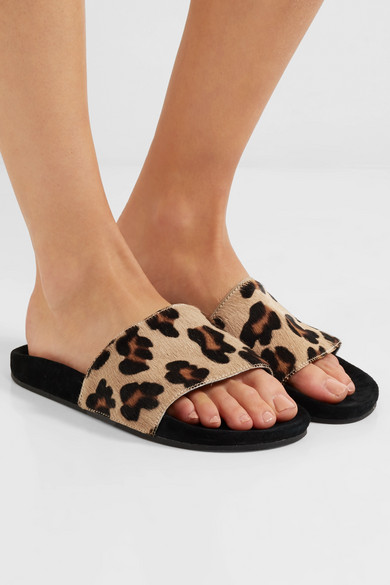 79d4a745969e1 adidas Originals. Leopard-print calf hair and suede slides