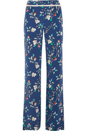 Portofino crochet-trimmed printed silk-satin wide-leg pants