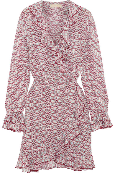 Paloma Blue - Fiesta Ruffled Printed Silk Crepe De Chine Wrap Dress - Pink
