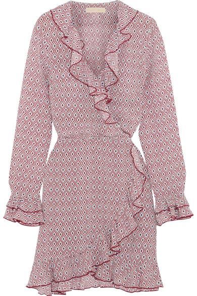Paloma Blue - Fiesta Ruffled Printed Silk Crepe De Chine Wrap Dress - Pink