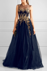 Reem Acra Embellished tulle gown