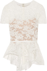 Cotton-blend corded lace peplum top